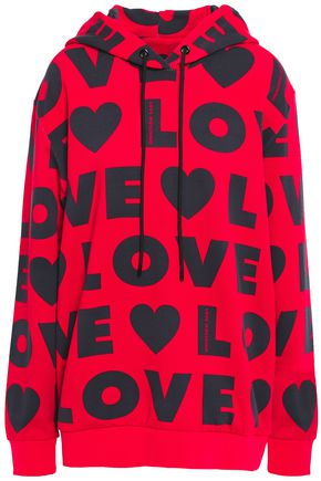 LOVE MOSCHINO Printed French cotton-terry hoodie