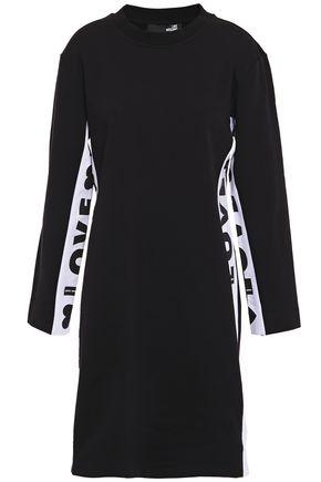 LOVE MOSCHINO فستان قصير من الصوف المصنوع من مزيج القطن المطبع برسومات