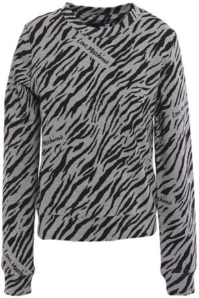 LOVE MOSCHINO Zebra-print cotton-blend fleece sweatshirt
