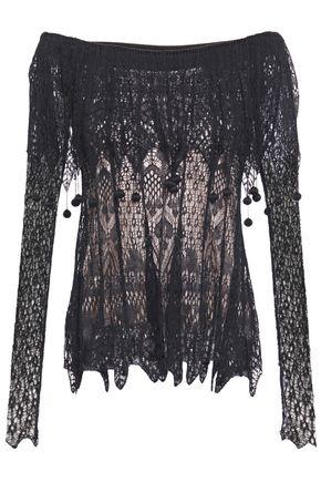 ALEXANDER MCQUEEN Off-the-shoulder pom pom-embellished silk lace top