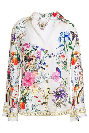 CAMILLA Crystal-embellished floral-print silk-twill shirt