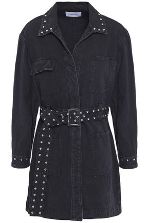 CURRENT/ELLIOTT Belted studded denim mini dress