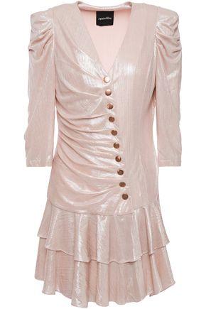 RETROFÊTE Cassidy pleated lamé mini dress