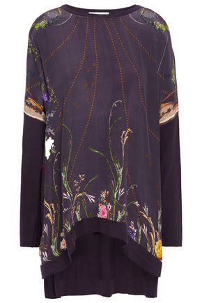 CAMILLA Embellished printed crepe de chine-paneled cotton, silk and cashmere-blend tunic