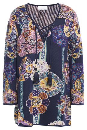 CAMILLA Star Gazer lace-up jacquard-knit sweater
