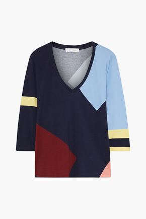 CHINTI & PARKER Color-block cotton-jersey top