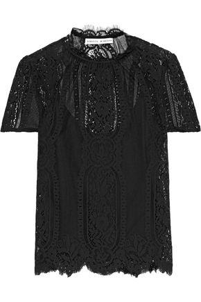 REBECCA MINKOFF Yasmin scalloped cotton-blend lace T-shirt