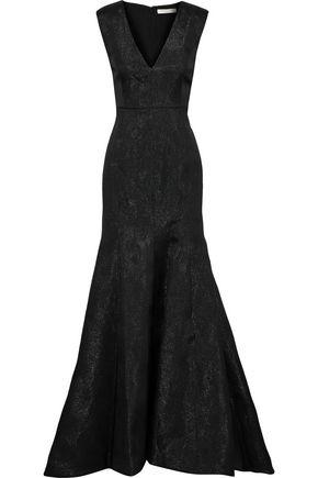 HALSTON فستان سهرة من الجاكار لون ميتاليك مع أطراف واسعة