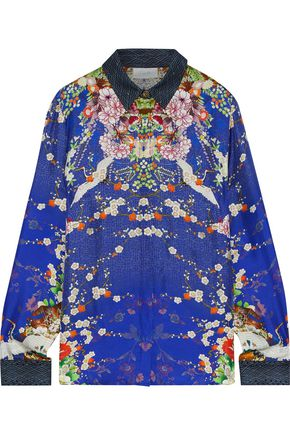 CAMILLA Crystal-embellished printed silk-twill shirt