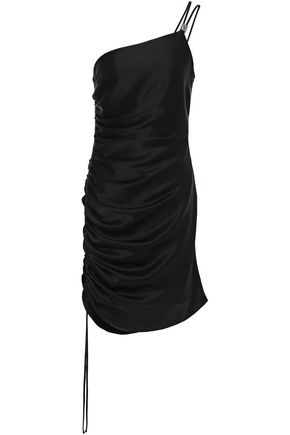 DAVID KOMA One-shoulder ruched satin mini dress