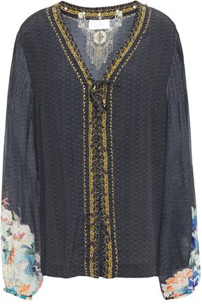 CAMILLA Lace-up embellished printed silk crepe de chine blouse