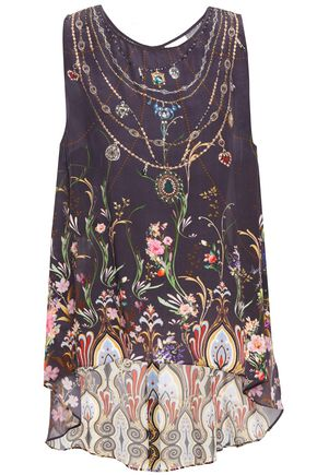 CAMILLA Blanche's Blessing embellished printed washed-silk blouse