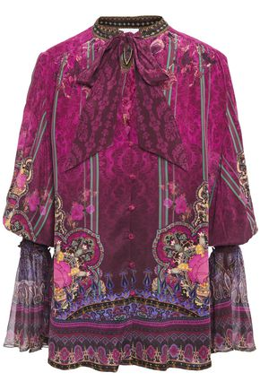 CAMILLA Daughters Destiny pussy-bow embellished printed silk crepe de chine blouse