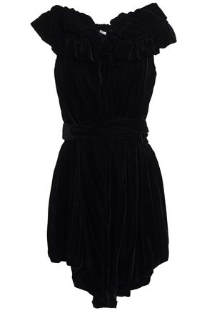 STELLA McCARTNEY Off-the-shoulder belted ruffled velvet mini dress
