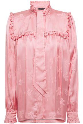 ALEXACHUNG Tie-neck ruffle-trimmed satin-jacquard blouse
