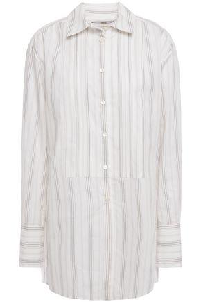 ALEXACHUNG قميص من الموسلين القطني المخطط مع كسرات