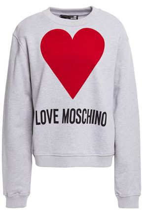 LOVE MOSCHINO Flocked printed French cotton-terry sweatshirt
