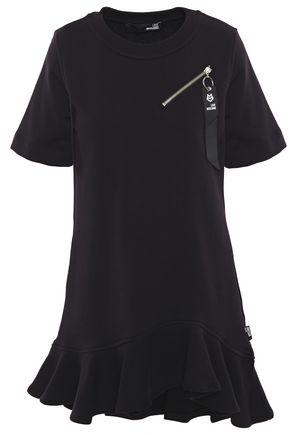 LOVE MOSCHINO فستان قصير من قماش تيري القطني الفرنسي مزين بسحاب مع أطراف واسعة