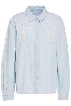 CLAUDIE PIERLOT Bead-embellished embroidered denim shirt