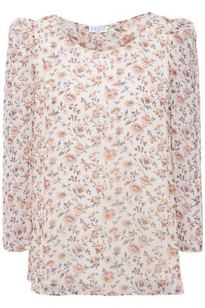 CLAUDIE PIERLOT Bow-embellished floral-print crepon blouse