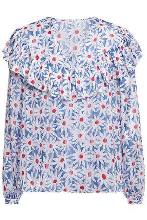 CLAUDIE PIERLOT Ruffled floral-print devoré-woven blouse