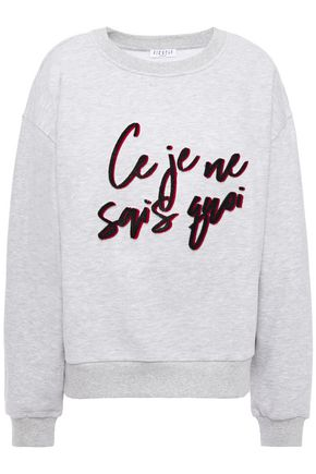 CLAUDIE PIERLOT Embroidered mélange cotton-blend fleece sweatshirt