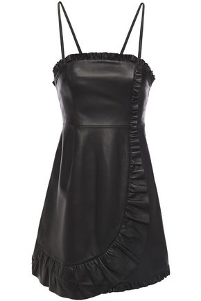 ALEXACHUNG Wrap-effect ruffled leather mini dress