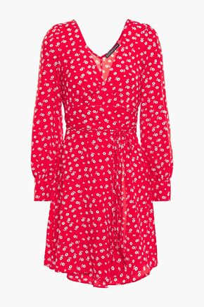 ALEXACHUNG Floral-print cady mini wrap dress