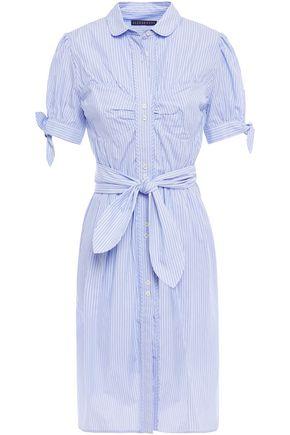 ALEXACHUNG Belted gathered striped cotton-poplin shirt dress