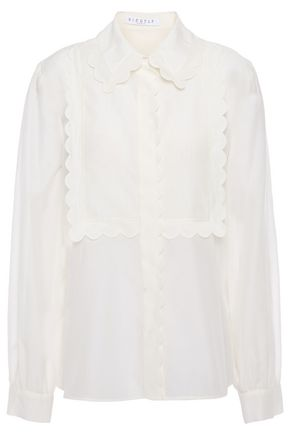 CLAUDIE PIERLOT Scalloped cotton and silk-blend shirt