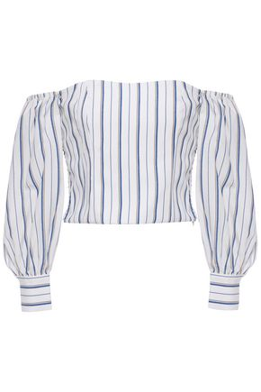 CLAUDIE PIERLOT Off-the-shoulder striped woven top