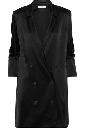 HALSTON Double-breasted satin-crepe mini dress