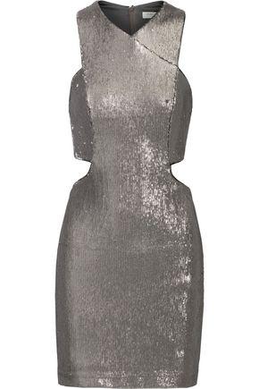 HALSTON Cutout sequined mesh mini dress