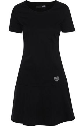 LOVE MOSCHINO فستان قصير من التويل المصنوع من مزيج القطن مع زخرفات مطبّقة