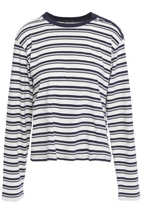 ATM ANTHONY THOMAS MELILLO Button-detailed striped cotton-jersey top