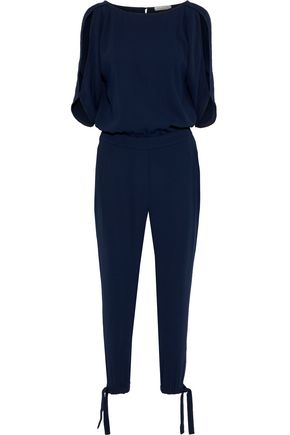 HALSTON Cutout gathered crepe jumpsuit