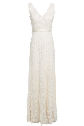 CATHERINE DEANE Satin-trimmed embellished tulle gown