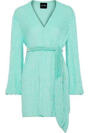 RETROFÊTE Gabriela velvet-trimmed sequined chiffon mini wrap dress