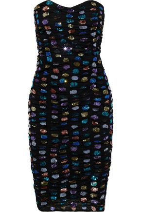 RETROFÊTE Strapless ruched sequin-embellished tulle dress