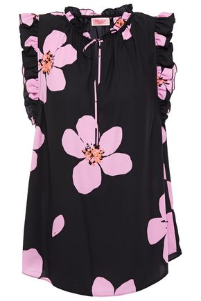 KATE SPADE New York Ruffle-trimmed floral-print cady blouse
