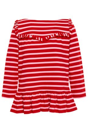 KATE SPADE New York Ruffle-trimmed striped cotton-jersey top