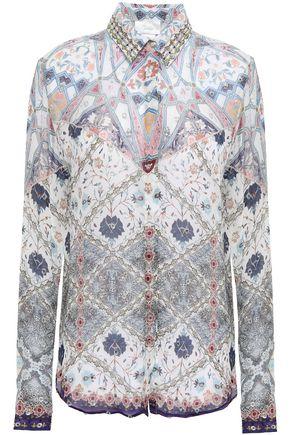 CAMILLA Crystal-embellished printed fil coupé georgette shirt