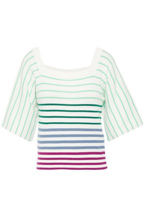 KATE SPADE New York Striped cotton-blend top