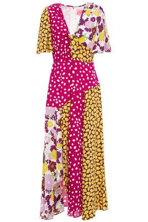 KATE SPADE New York Patchwork-effect twisted printed cady dress