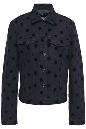7 FOR ALL MANKIND Modern Trucker polka-dot flocked denim jacket
