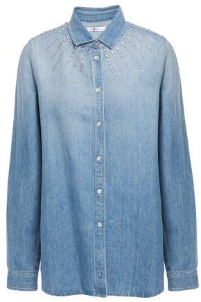 7 FOR ALL MANKIND Crystal-embellished faded denim shirt
