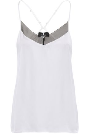 7 FOR ALL MANKIND Chiffon-trimmed jersey camisole