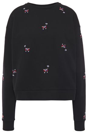 7 FOR ALL MANKIND Crystal-embellished embroidered French cotton-terry sweatshirt