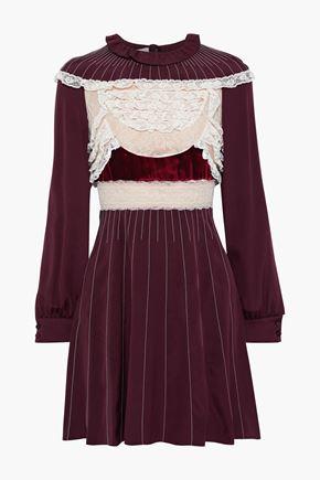 VALENTINO Ruffle-trimmed lace and velvet-paneled silk-jersey mini dress