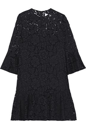VALENTINO Ruffled cotton-blend corded lace mini dress